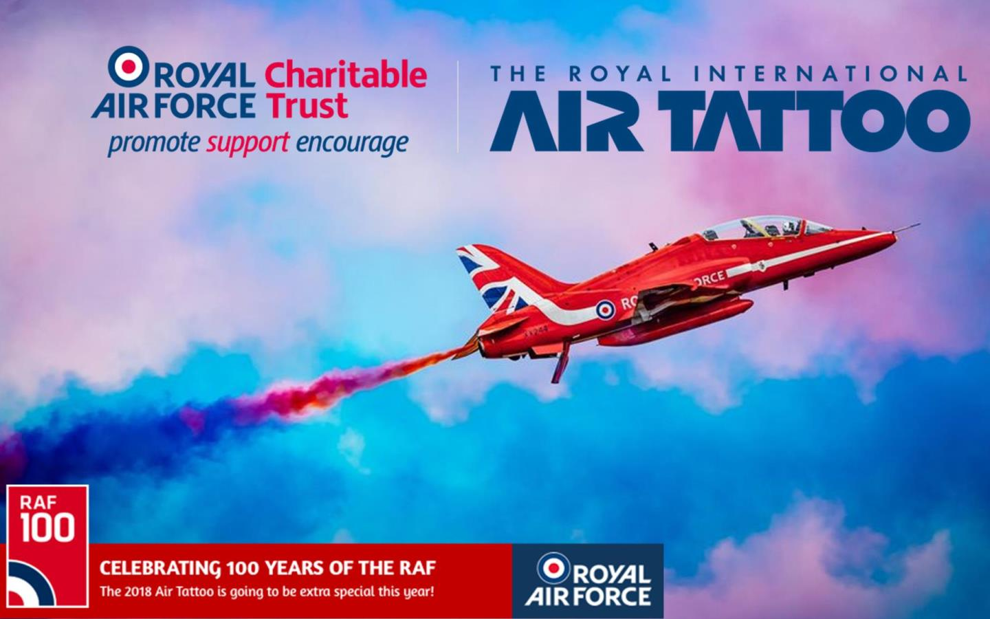 Red Arrow flying with vapour trail with RIAT logo