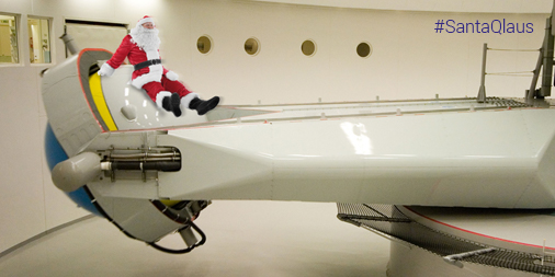 Santa riding the Centrifuge at the Flight Physiological Centre in Sweden