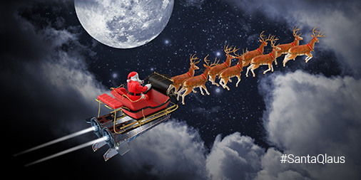 Santa flying through the air on a sleigh powered by T6 ion engines