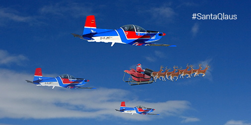 EIS aircraft flying in the sky alongside Santa and his sleigh