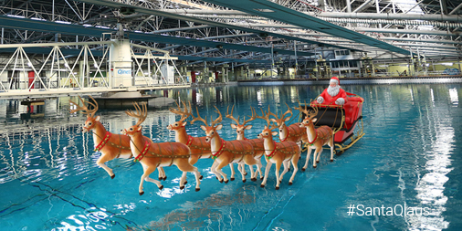 Santa and the reindeer in the Ocean Basin at Haslar