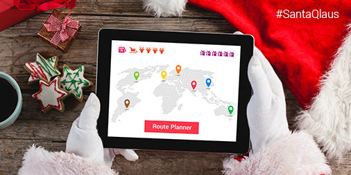 Santa looking at a route on a tablet device