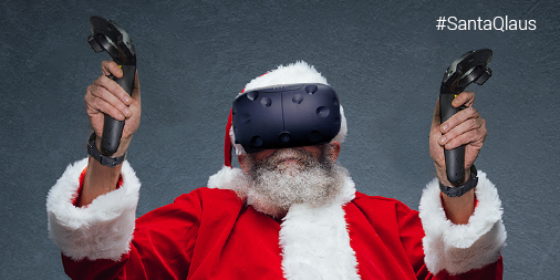 Santa using a Virtual Reality headset and controls