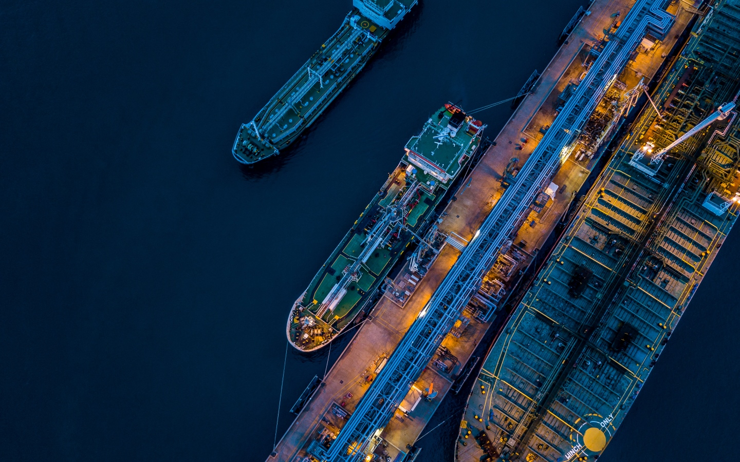 Ships in dockyard at night