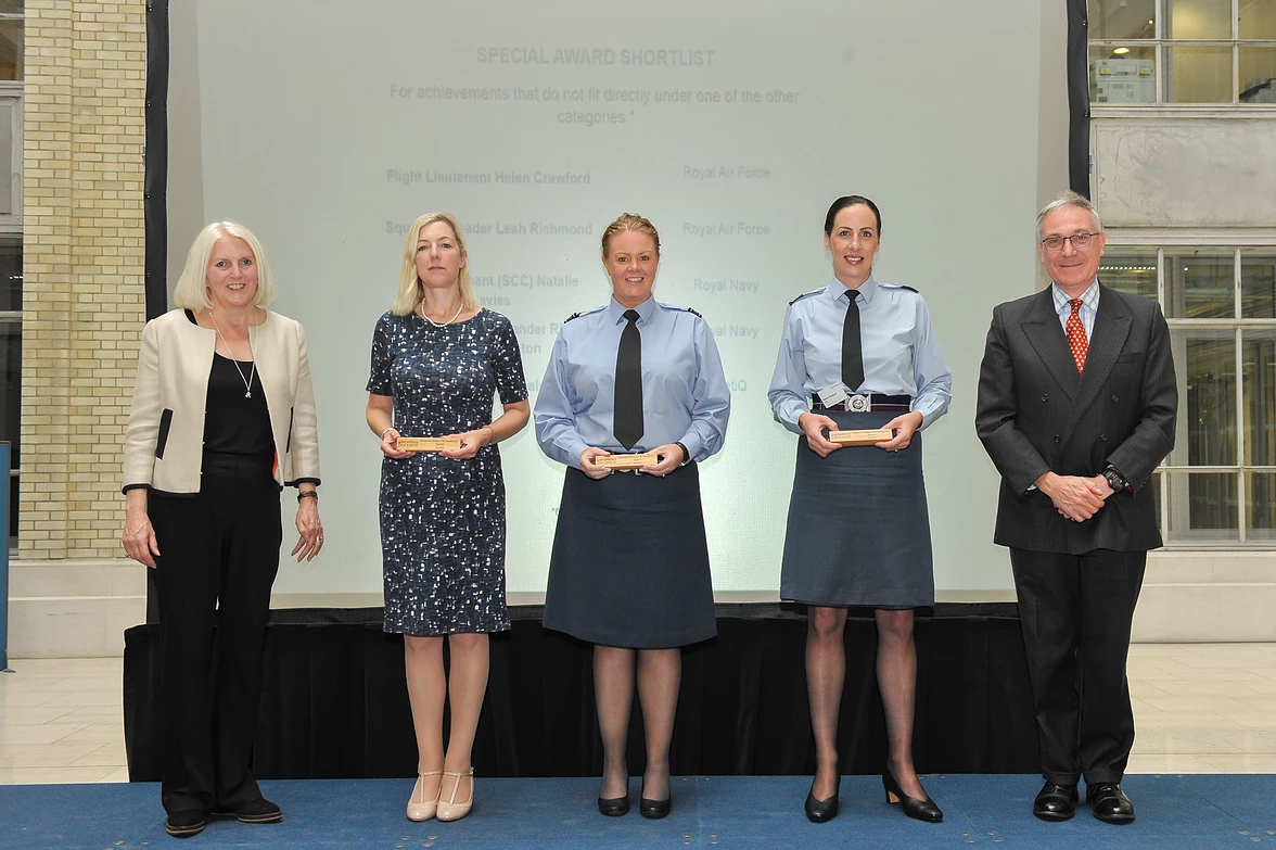 Dr Sam Healy and other finalists in the Women in Defence UK Special Award category