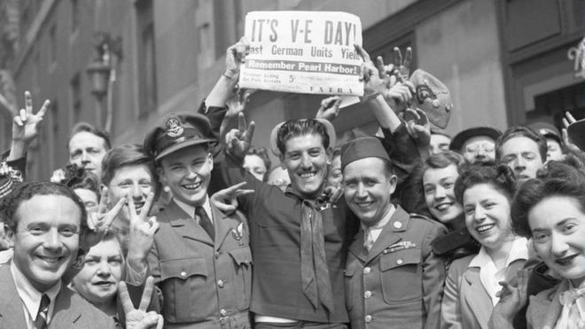 Crowd celebrating VE Day