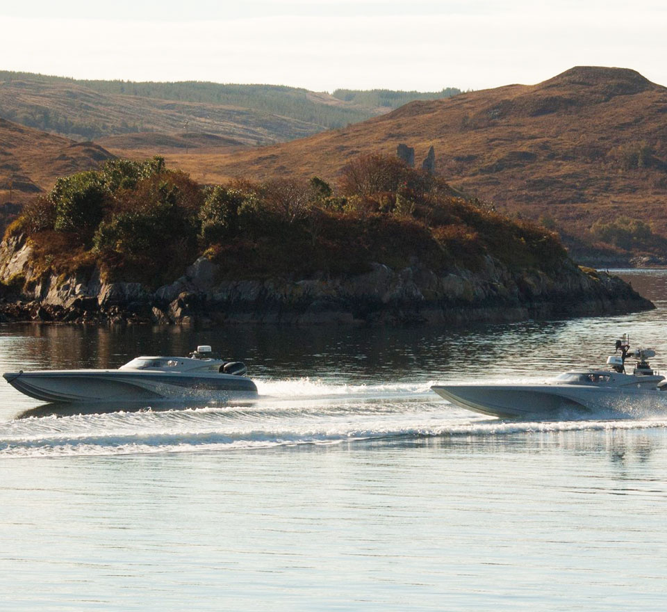 Three Bladerunner USVs during Unmanned Warrior