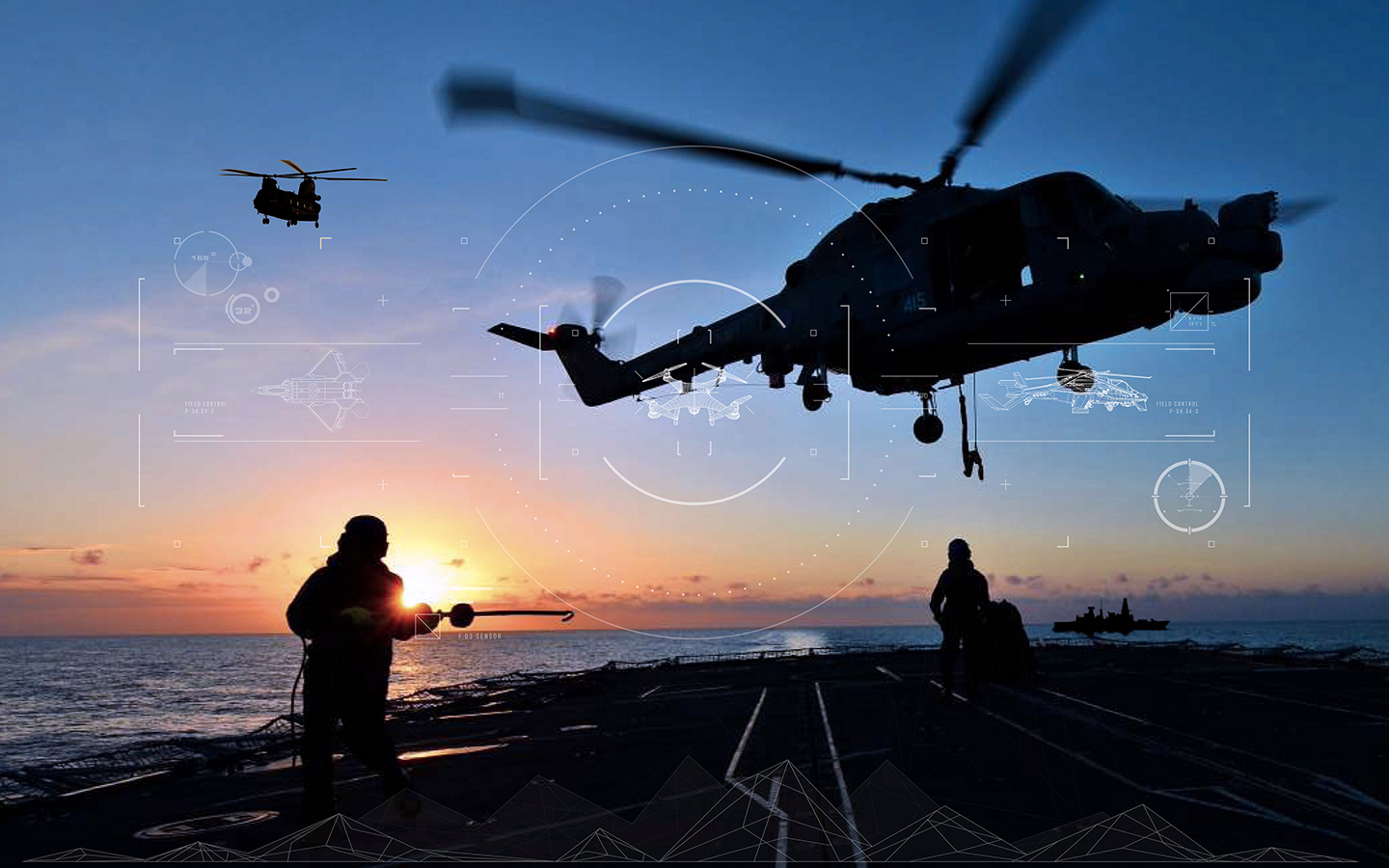 Sunset with helicopters landing on an aircraft carrier
