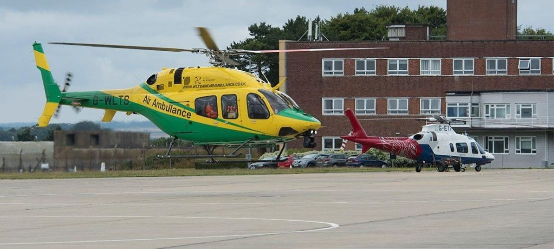 Air ambulance landing at Boscombe Down