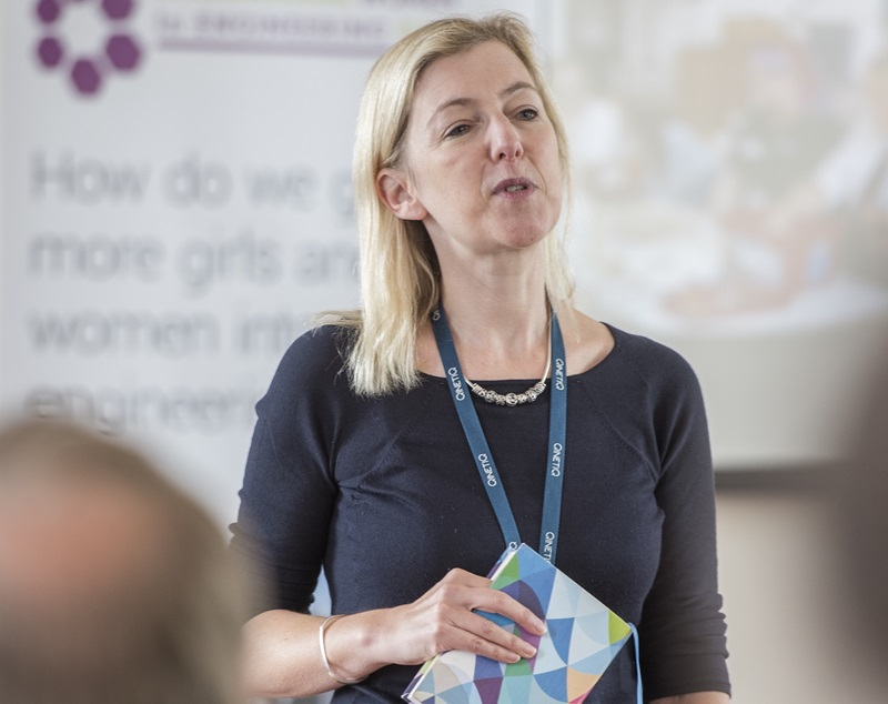 Dr Sam Healy presenting at an International Women in Engineering event in June 2017