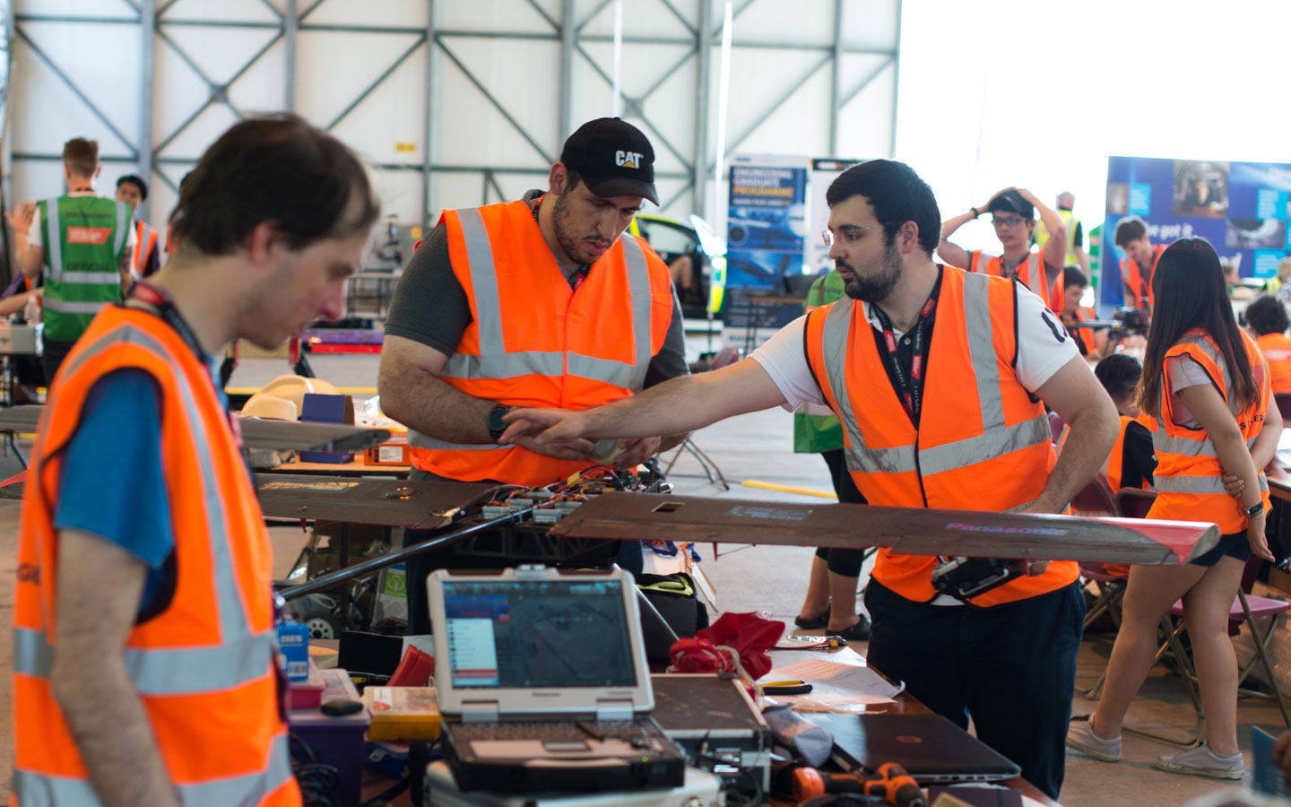 UAS teams making their drones in hangar at Llanbedr