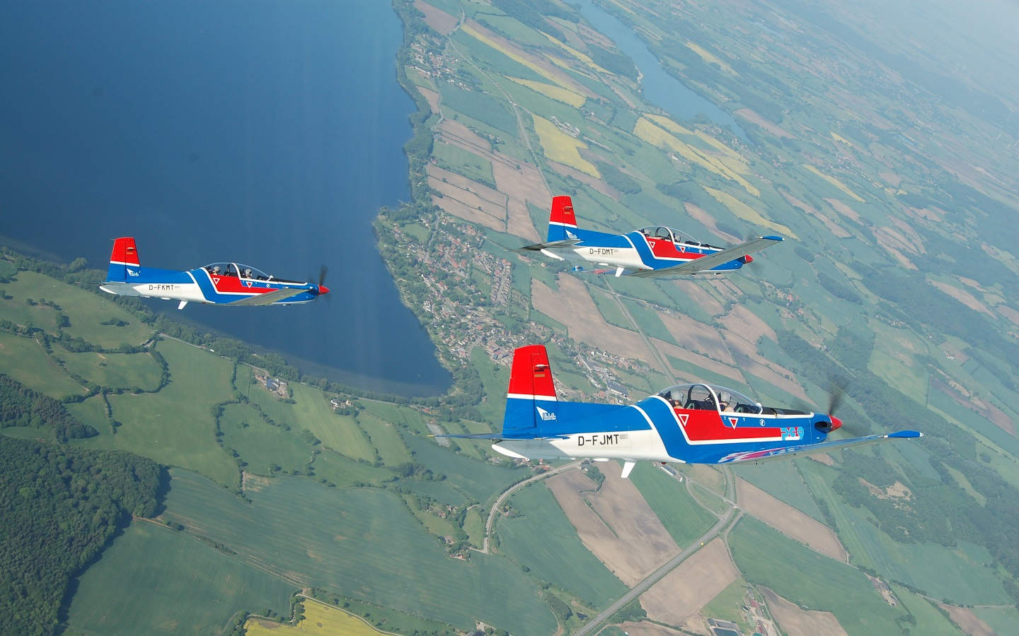 Three PC-9 aircraft